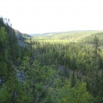 Hiking in Korouoma canyon in Lapland